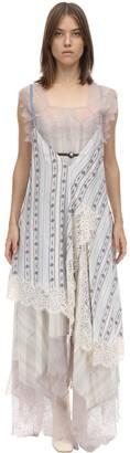 Lanvin Long Printed Silk Patchwork Dress