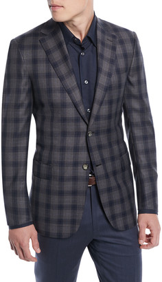 Brioni Two-Tone Plaid Two-Button Sport Jacket