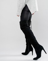Faith Fierce Tie Back Suede Heeled Over The Knee Boots