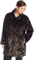Ellen Tracy Outerwear Women's Plus-Size Faux Fur Coat Plus