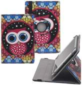 Tsmine Rotating Case Cartoon for Kids - Universal Protective Cute Owl Printed Rotary Leather Case Stand Cover for Chuwi Hi8 Pro