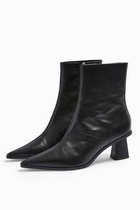 Topshop Womens Maile Leather Black Point Boots - Black