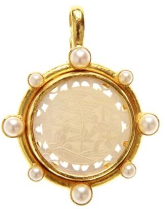 Elizabeth Locke Gambling Counter 19K Yellow Gold, Pearl & Mother-of-Pearl 18th Century Gambling Counter Pendant