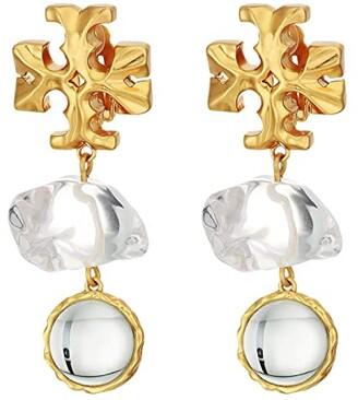 Tory Burch Roxanne Double-Drop Earrings (Rolled Brass/Clear) Earring