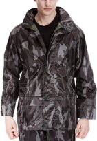 Forever Mens Army Camouflage Waterproof Hooded Lightweight Outdoor PVC Rain Jacket