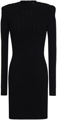 Balmain Pointelle-trimmed Jacquard-knit Mini Dress