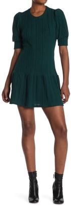 Max & Ash Puffed Sleeve Ribbed Knit Mini Dress