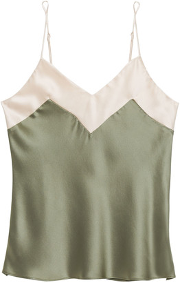 Ginia Two-tone Silk-satin Camisole