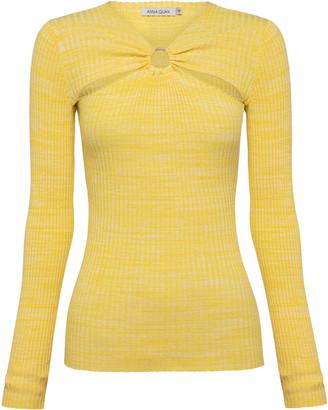 ANNA QUAN Laila Cutout Ribbed-Knit Cotton Top