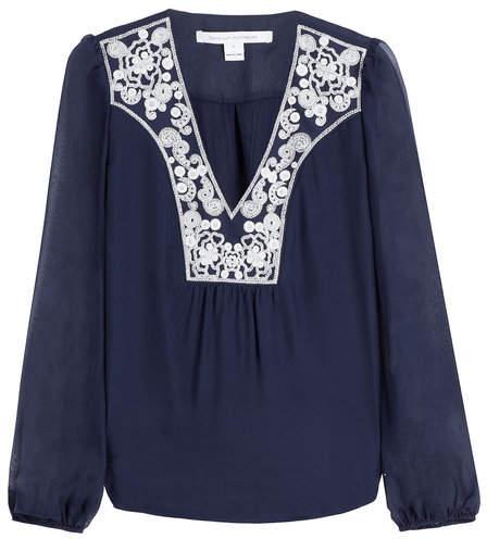Diane von Furstenberg Embroidered Silk Long Sleeve Top