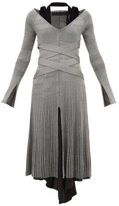 Proenza Schouler Crossover-belted Ribbed-knit Dress - Silver