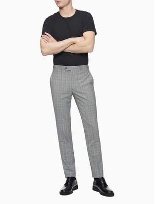 Calvin Klein Skinny Fit Grey Gold Plaid Pants