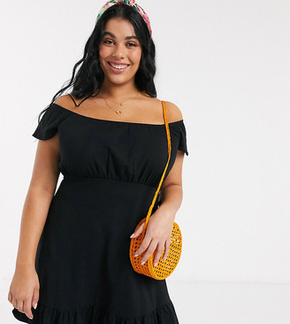ASOS DESIGN Curve off shoulder mini sundress with pep hem in black