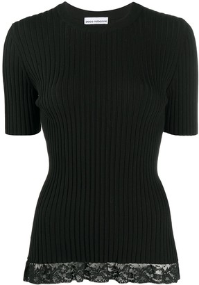 Paco Rabanne Ribbed Knit Lace-Panelled Top