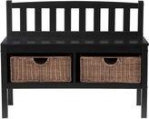 Asstd National Brand Holden Wood Bench with Ratan Baskets