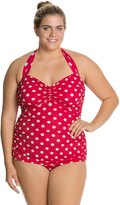 Esther Williams Plus Size Polka Dot Classic Sheath One Piece Swimsuit 8117782