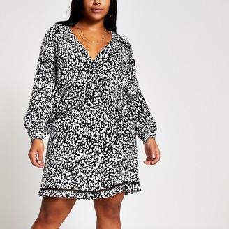River Island Plus black printed frill mini smock dress