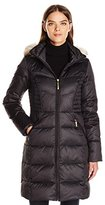 Ellen Tracy Outerwear Women's Down with Waist Detail and Faux Fur Hood