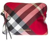 Burberry Red Pattern Tartan In Nylon And Leather Cosmetic Bag