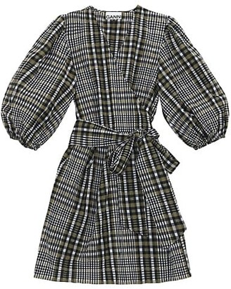 Ganni Seersucker Check Tie Dress