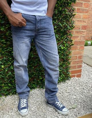 Topman straight leg jeans in mid wash blue