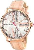 Betsey Johnson BJ00212-09 Women's MOP Dial Rose Gold Steel Pink Leather Strap Crystal Watch