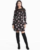 White House Black Market Long-Sleeve Floral Lace Shift Dress