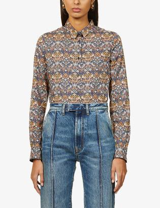 Sessun Brittany graphic-print cotton-poplin shirt
