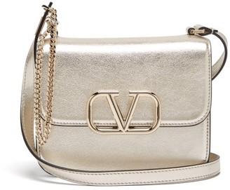 Valentino V-sling Small Metallic-leather Shoulder Bag - Womens - Gold