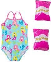 Jump N Splash Toddler Girls' Mermaid Party One Piece Swimsuit w/ Free Floaties (2T3T) - 8143039