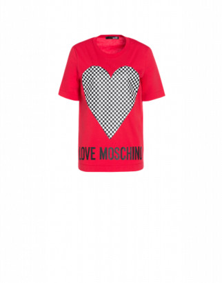 Love Moschino Jersey T-shirt With Check Heart Woman Red Size 38 It - (4 Us)
