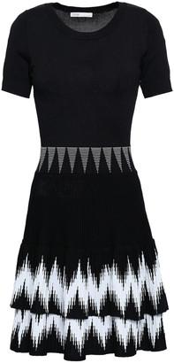 Maje Tiered Intarsia-knit Mini Dress