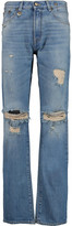 R 13 Classic Distressed High-Rise Straight-Leg Jeans