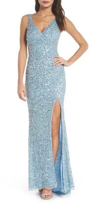 Mac Duggal V-Neck Sequin Column Gown