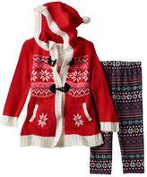 Little Lass Baby Girl Fairisle Cardigan, Penguin Top & Leggings Set