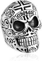 King Baby Studio Men's Large Skull Ring with Chosen Cross Detail, Size 11