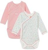 Petit Bateau Set of 2 newborn baby girls long-sleeved bodysuits