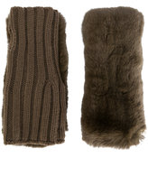Yves Salomon rabbit fur fingerless gloves