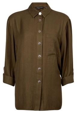 Dorothy Perkins Womens Khaki Shirt, Khaki