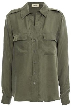 L'Agence Lunetta Washed-twill Shirt