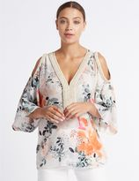 Marks and Spencer Floral Print Cold Shoulder V-Neck Tunic