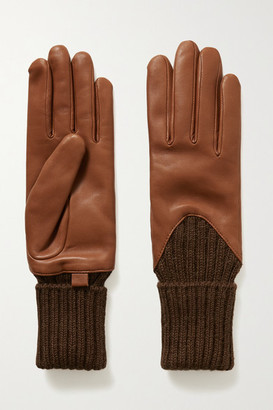 Agnelle Cecilia Leather And Ribbed Alpaca Gloves - Tan