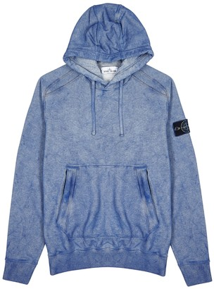 Stone Island Blue washed-effect cotton sweatshirt