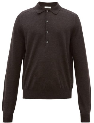 The Row Dylan Long-sleeved Wool Polo Shirt - Mens - Black