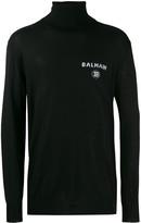 Balmain Intarsia Logo Turtleneck Sweater