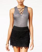 Material Girl Juniors' Metallic Rib-Knit Lattice Bodysuit, Only at Macy's