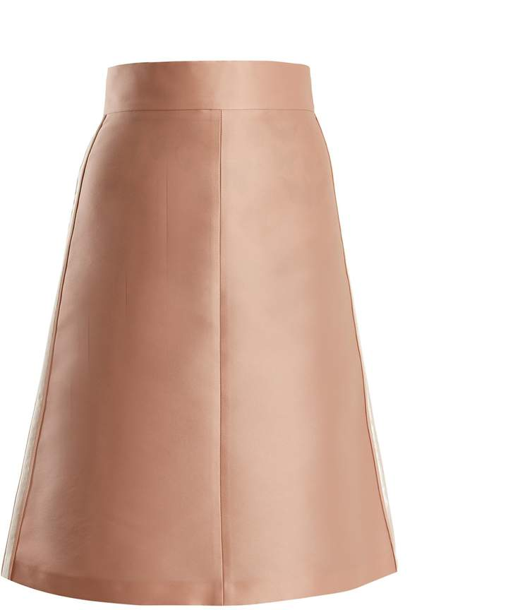 RED Valentino Stripe-trimmed A-line skirt