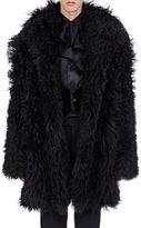 Saint Laurent Men's Shaggy Shearling Coat-BLACK