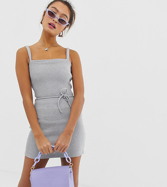 Another Reason ribbed structured cami dress-Grey