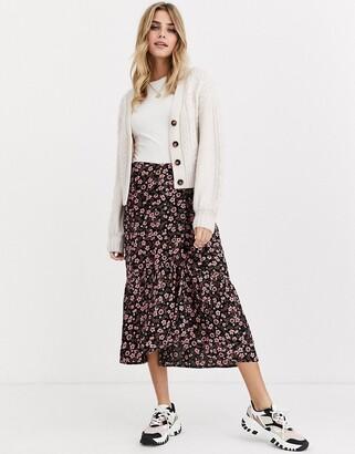 Miss Selfridge midi skirt in floral print-Black